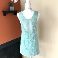 FREE PEOPLE Sz 2 XS Danced To Pieces Mini Dress Mint Green Floral Velvet Beaded