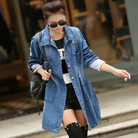 New Women Long Sleeve Outwear Denim Long Jeans Jacket Coat Top Size S-5XL Casual