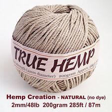 TRUE HEMP big ball - NATURAL (no dye) 2mm 48lb - HempCreation 285feet/ 87m 200gr