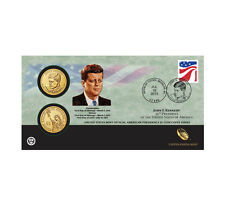 2015 John F. Kennedy One Dollar Coin Cover - 2 coins P&D with stamp - Ship TODAY