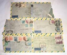 Group of 5 Antique STAMPED ENVELOPES from BRAZIL Mailed to U.S.A. FREE SHIPPING
