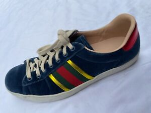 ~ GUCCI NAVY VELVET ACE WEB STRIPE LOW TOP SNEAKERS (SPORTY GLAM!)  7.5