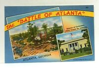 Georgia Battle Of Atlanta Painting Cyclorama Grant Park Linen Vintage Postcard