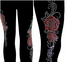 Regular Size Capri Leggings Embellished Rhinestone Red and Clear Crystal Roses