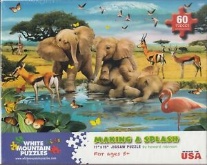 White Mountain Puzzle - MAKING A SPLASH - African Elephants by Howard Robinson