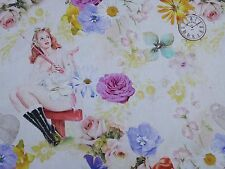 Vintage Flower Girls Ladies Designer Curtain Upholstery Craft Fabric