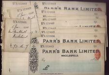 1903 PARR'S BANK, Macclesfield, unused cheque lot of 10 + two used counterfoils