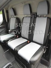 TO FIT A FORD TRANSIT VAN SEAT COVERS - SPORT, SILVER GREY+BLACK LEATHERETTE