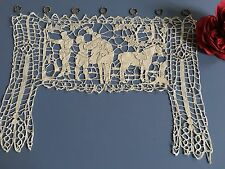 Rideau ancien Brise bise Dentelle à l'Aiguille Personnages Chevaux Réf: 1487-107