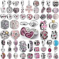 Hot Cute Pink Bead Handmade Charms For Genuine 925 Silver Bracelets Bangle Chain