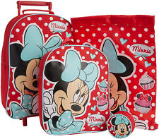Minnie Mouse 4pc Childrens Luggage Set Wheeled Bag Backpack Purse Trainer Bag