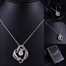 Super Kette Halskette *Big modern Heart*, Weißgold pl, Swarovski Elements, +Etui