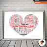 PERSONALISED WORD ART PRINT HEART SHAPE VALENTINES GIFT SET FOR ONE I LOVE