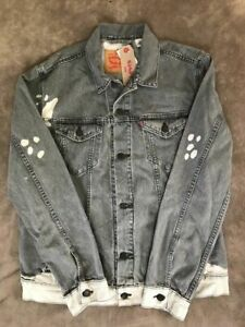 LEVIS Trucker Jean Jacket Mens Harris Grey Bleach Spots NEW size XL