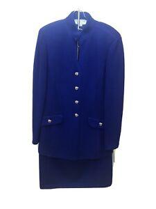 St John Evenings Womens Knit Skirt Suit Sz 10 Royal Blue USA