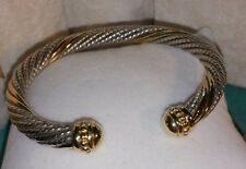 Alwand Vahan 14k Yellow gold & Sterling Silver  cable cuff Bangle Bracelet $895