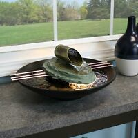 """Sunnydaze Soothing Balance Slate Tabletop Water Fountain Feature with Light - 7"""""""