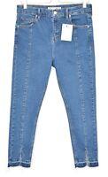 Topshop Super Skinny JAMIE High Rise Blue RAW HEM Stretch Jeans Size 10 W28 L30