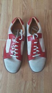 Clarks Originals Mens Casual Walking Shoes Leather & Suede Size 8 - Red & White