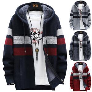Mens Thick Fleece Fur Lined Hoodie Casual Warm Zip Up Coat Jacket Sweatshirt Top