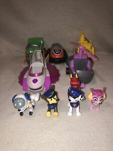Paw Patrol Figures & Vehicle Lot - Robodog, Skye, Chase, Rocky, Zuma, Rubble