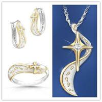Women's Jesus Cross Silver Necklace Pendant Earrings Ring Elegant Jewelry Set