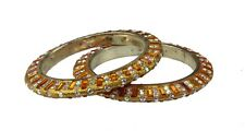 Pair of Orange glitter diamante & rectangle stone bangles Indian Bollywood (x2)