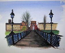 Glasgow puente colgante sobre la pintura original Clyde