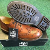 Men's Leather Brogue Leather Lined Commando rubber Sole Tan