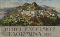 Taormina Sicily Hotel Excelsior POSTER ART DECO Promo Adv Postcard Card/PC LS19