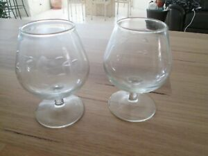 2 Vintage Etched Leaf Design Crystal Glass Brandy Balloons Snifters 300ml pair