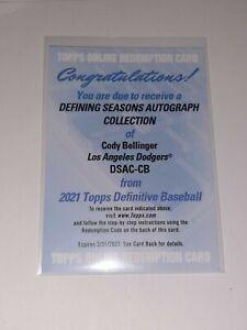 2021 Topps Definitive Cody Bellinger Defining Seasons Auto /25 LA Dodgers