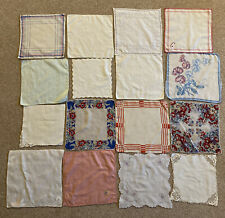 More details for vintage handkerchief hanky 1950s cotton silk lace embroidered prop reuse upcycle
