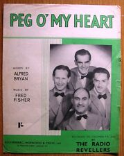 "RARE 4 PAGE VINTAGE MUSIC - SONG SHEET "" PEG O' MY HEART ""  BY BRYAN & FISHER"