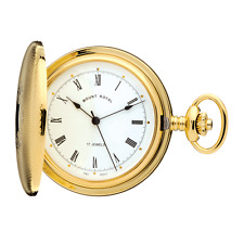 Reloj De Bolsillo Chapado en Oro Cazador Trasero Pulido por Mount Royal Modelo no. B10