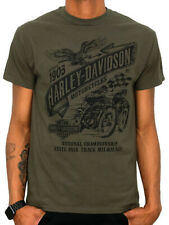 Harley-Davidson Mens Vintage Races Banner Dark Olive Green Short Sleeve T-Shirt