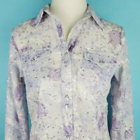 Roper Shirt Purple Long Sleeve Pearl Snaps Embroidered Floral Sheer Womens Small