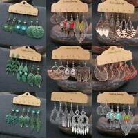 3 Pairs Womens Vintage Boho Earrings Set Drop Dangle Tassel Ear Stud Jewelry