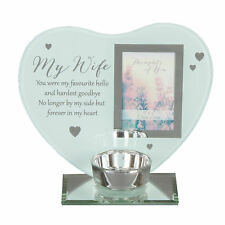 """Thoughts of You"" Glass Photo Frame Memorial Tea Light Candle Holder - Wife"
