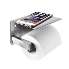 Stainless Steel Brushed Self Adhesive Toilet Roll Holder with Phone Shelf Rack