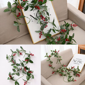 200cm Holly Leaves and Red Berries Winter Garland Christmas Garland Home Decor
