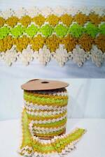 """Vtg 60s GIMP Fabric Trim Upholstery Curtains Chartreuse Gold White 5 YD 4.25"""""""