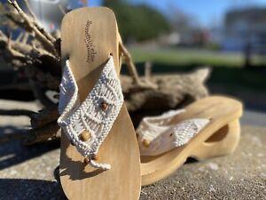 Womens Skechers SOMETHIN' ELSE NWOB Crochet Beaded Wedge Sandals Retro Size 7