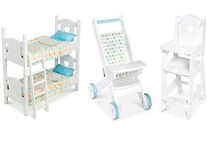 Wooden Children's Baby Doll Pretend Play Stroller Buggy Bunk Beds Melissa & Doug