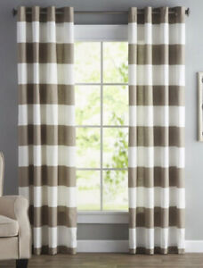 NEW NÁUTICA Cabana Stripe (White & Tan ) 2x Window Curtain Panels 50 x 96