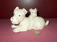 Vintage Ceramic Porcelain White Terrier DOG FIGURINE Mother and Puppy