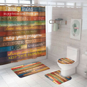 Family Rules Shower Curtain Bathroom Rug Set Thick Bath Mat Toilet Lid Cover