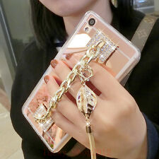 Girls' Mirror Luxury Bling Diamond Metal Bracelet Strap Tassel Phone Case Cover