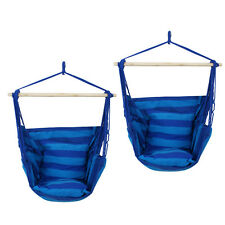 2x Hammock Hanging Rope Chair Porch Swing Patio Camping Portable - Blue Stripe