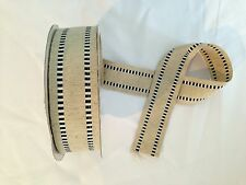 "BLACK WHITE STITCH DETAIL WIRED COTTON RIBBON NATURAL 1.5"" TRIM TAPE DECORATION"
